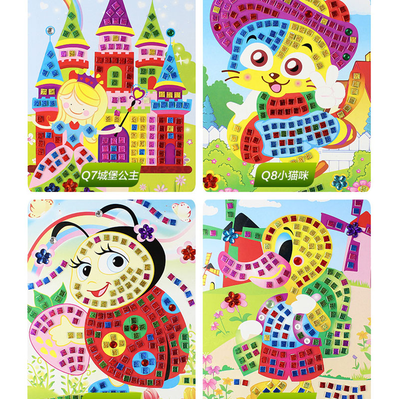 Handmade 3D Children Puzzle DIY Foam Mosaic Stickers Art EVA Cartoon Crystal 3D Sticker Creative Educational Toys For Kids