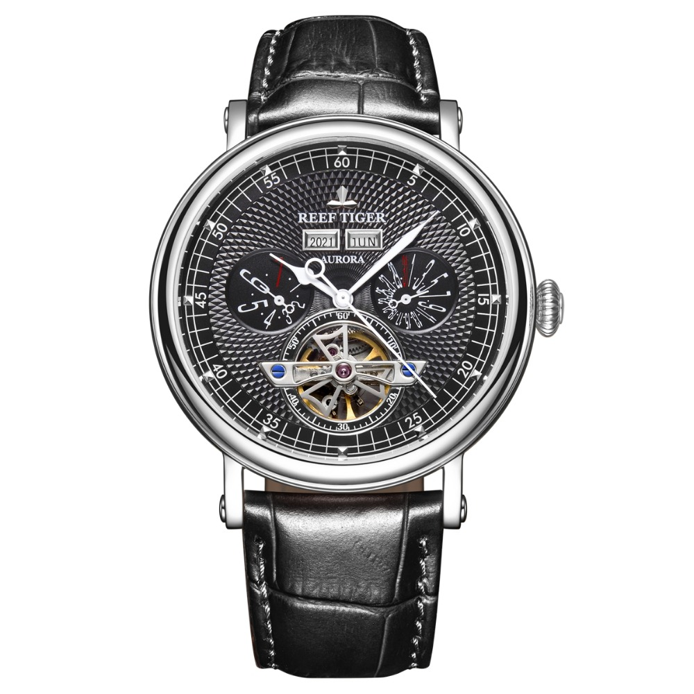 Reef Tiger RGA1903 Leather Band Men Hollow Out Dial Function Automatic Mechanical Wrist Watches Year Month