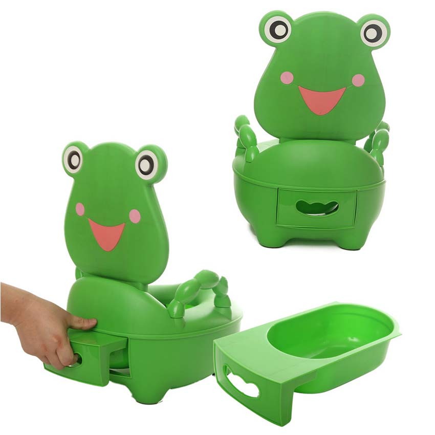 Baby Kids Travel Toilet Portable Potty Toilet Plastic Urinals Boy Drawer Frog Cartoon Toilet Training Seat 0-5 Years cartoon duck child seat toilet portable safe backpack baby urinals baby training toilet baby potty with armrest