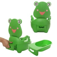 Baby Kids Travel Toilet Portable Potty Toilet Plastic Urinals Boy Drawer Frog Cartoon Toilet Training Seat 0 5 Years