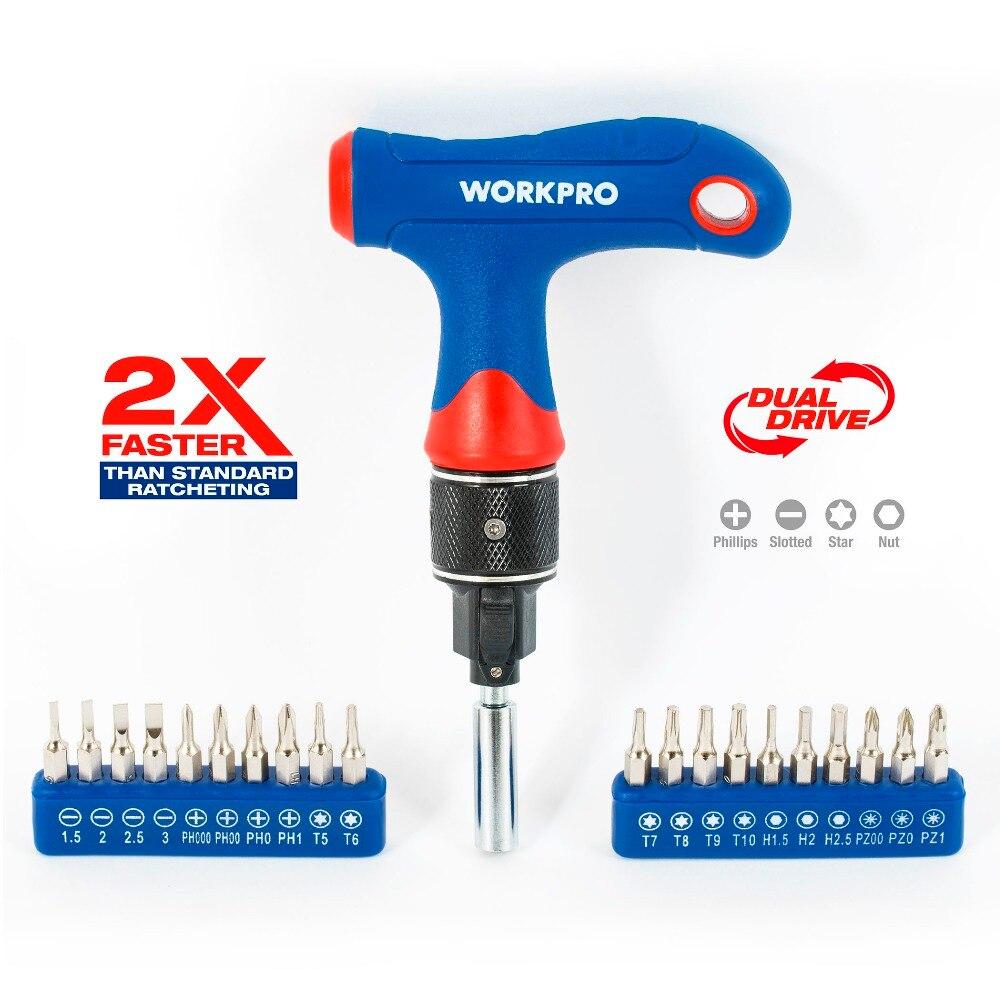 WORKPRO 2X Più Veloce Mini Cacciavite T-handle Dual Drive Cacciavite