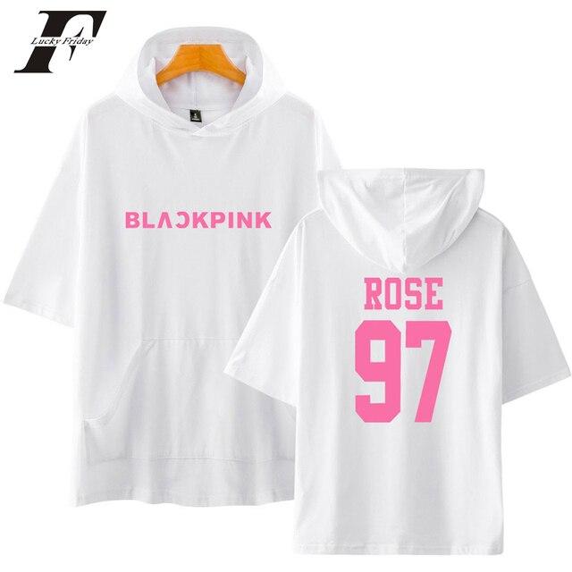LUCKYFRIDAYF 2018 Blackpink 12 Short Sleeve korean Style Sweatshirts Pullover Cotton