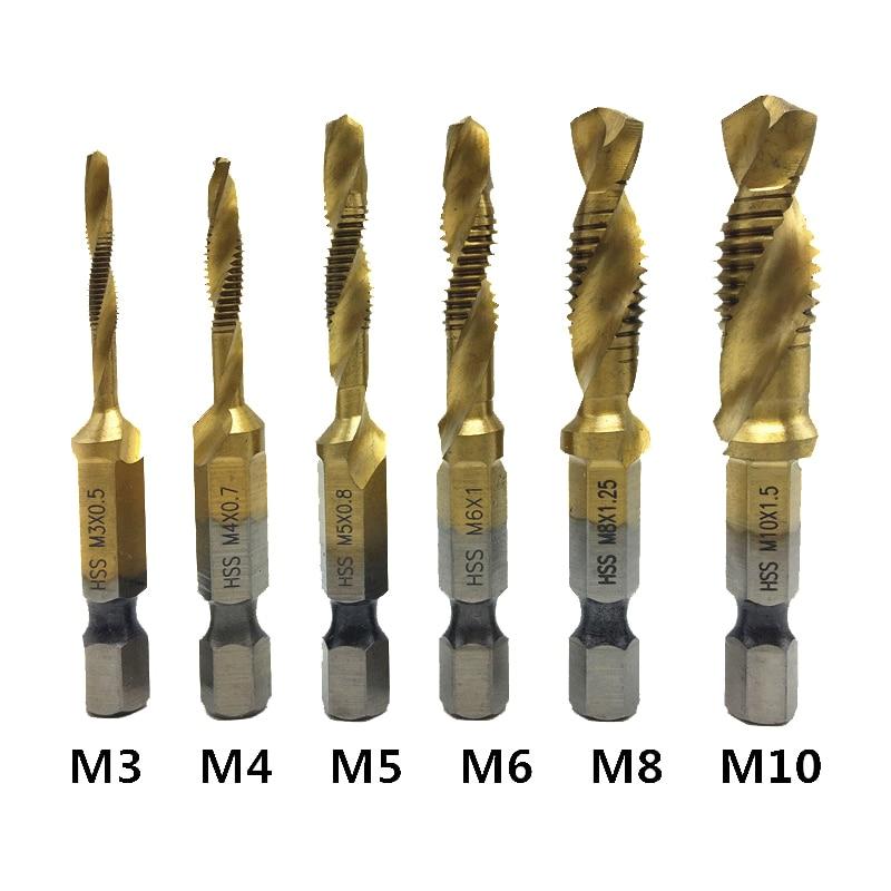 6pcs Titanium M2 Hex Shank Hand Tap HSS Screw Spiral Point Thread Metric Plug Drill Bits