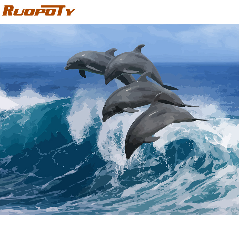 RUOPOTY Frame Dolphin DIY Painting By Numbers Calligraphy Painting Acrylic Paint By Numbers Animal Wall Art Picture For Home Art