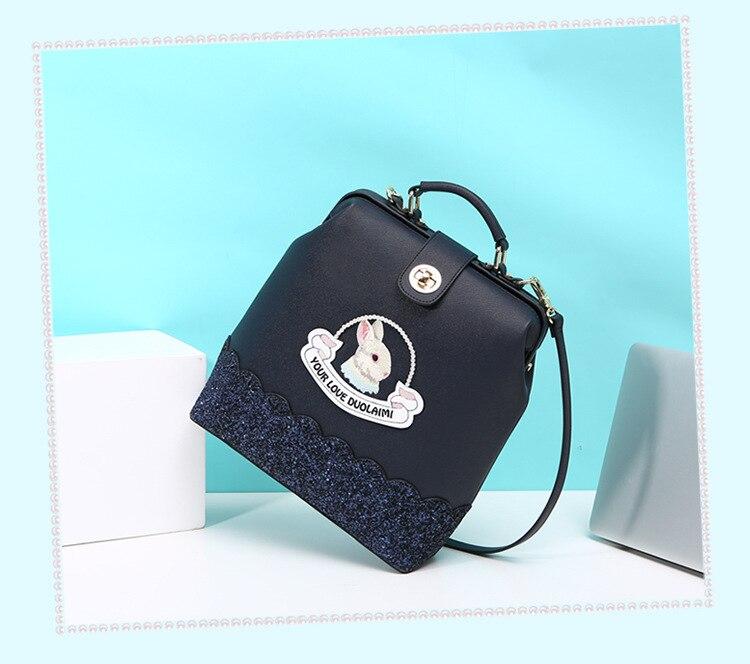 DuoLaiMi 2017 جديد متعددة الوظائف الأزياء حقيبة كتف جلدية pu التطريز أرنب على ظهره الماس Crossbody الحقائب المدرسية-في حقائب الظهر من حقائب وأمتعة على  مجموعة 3
