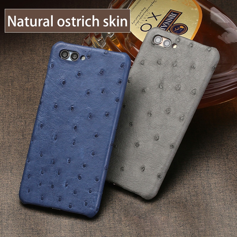 New half pack mobile phone case for Huawei P20 lite true ostrich skin phone case Luxury Genuine Leather phone protection case - 3