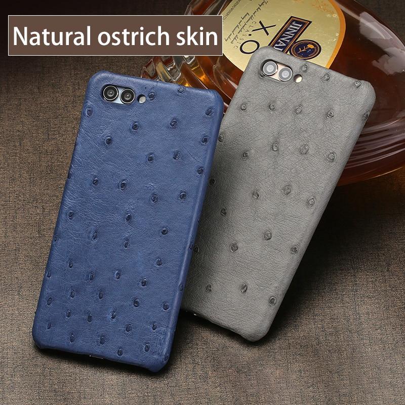Nouveau demi paquet étui de téléphone portable pour Huawei P20 lite véritable peau d'autruche coque de téléphone de luxe en cuir véritable coque de téléphone - 3