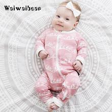 Autumn Newborn Baby Rompers  Infant Long-Sleeved Flower Print Jumpsuit Clothes for Boys and Girls