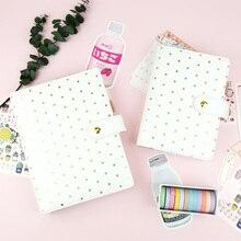 Jamie notas folha de polka ouro pasta caderno a5a6 pessoal espiral planejador agenda revistas meninas presente escola papelaria