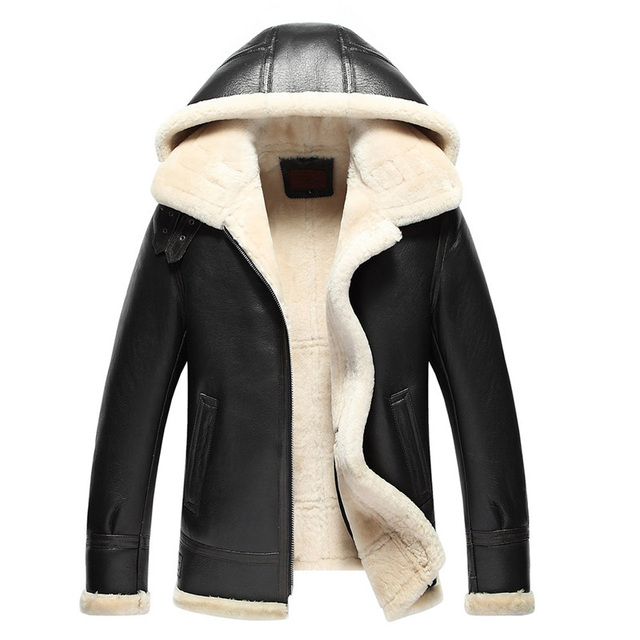 516006811 Mens Fur Coat Pilot Leather Jacket Men's Shearling Coat Mens Leather Jacket  Hooded Jacket Men Casual