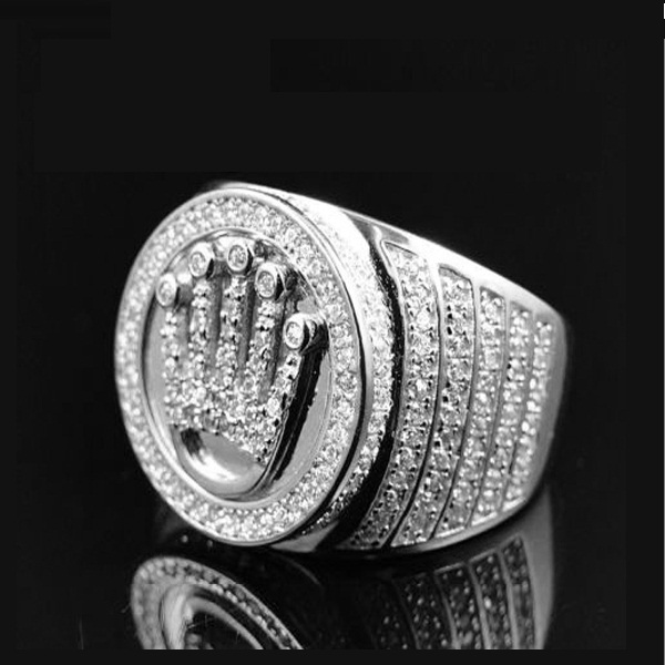 High Quality King Gold Color Crown Ring Mens Hip Hop Bling Jewelry Pave Stone Bague