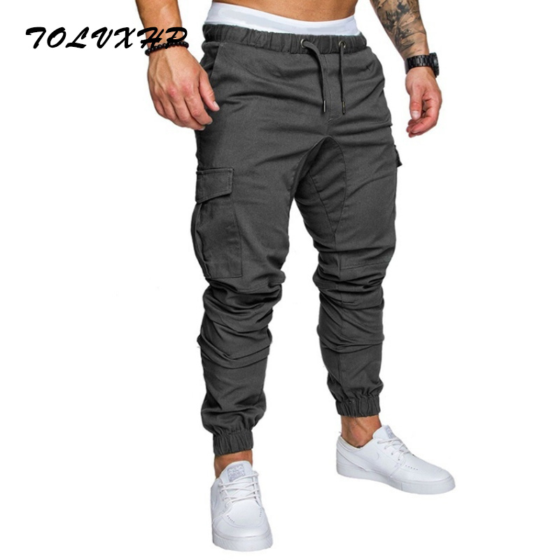 TOLVXHP 2018 marca hombres pantalones Hip Hop Harem Pantalones 2018 hombres pantalones Mens Joggers sólido Multi-Bolsillo sweatpants 4XL