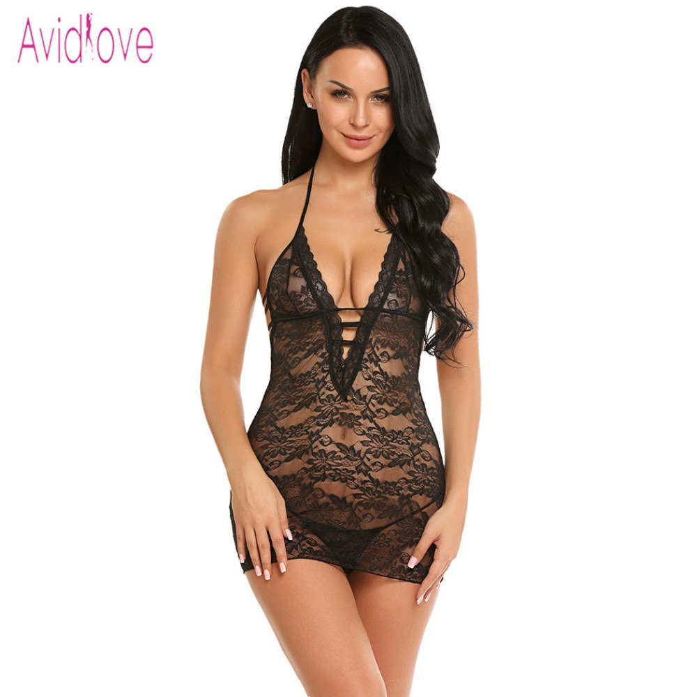 Avidlove Women Underwear Lingerie Sexy Hot Erotic Sleepwear Transparent Babydoll Lace Night Sleep Wear Nightgown Porn Clothes