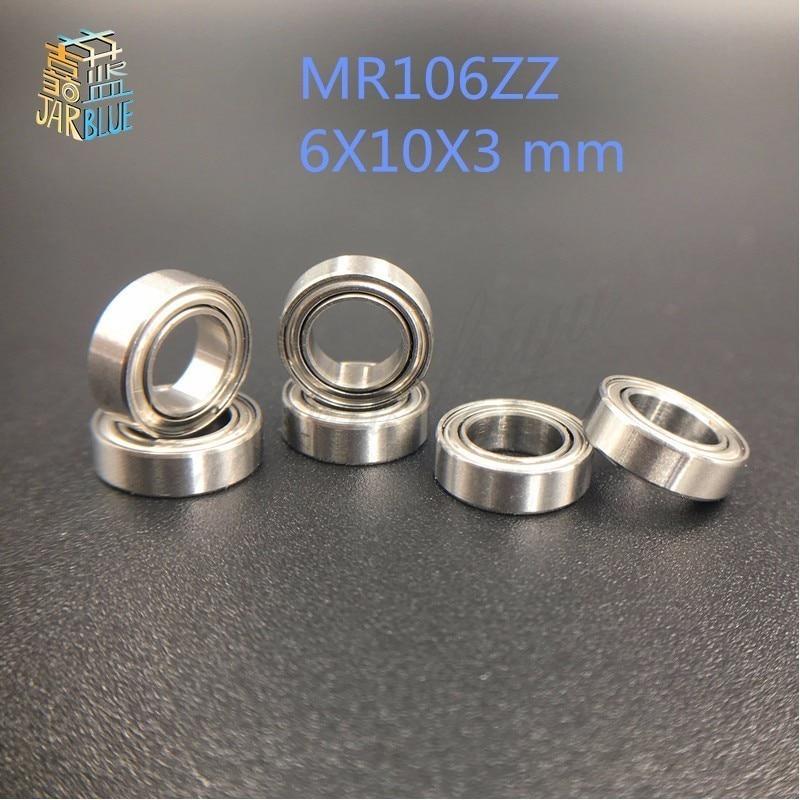 Free Shipping 10pcs MR106ZZ 6X10X3 mm metal shielded steel ball bearing Deep groove Ball Bearings MR106 / L-1060 ZZ free shipping 25x47x12mm deep groove ball bearings 6005 zz 2z 6005zz bearing 6005zz 6005 2rs