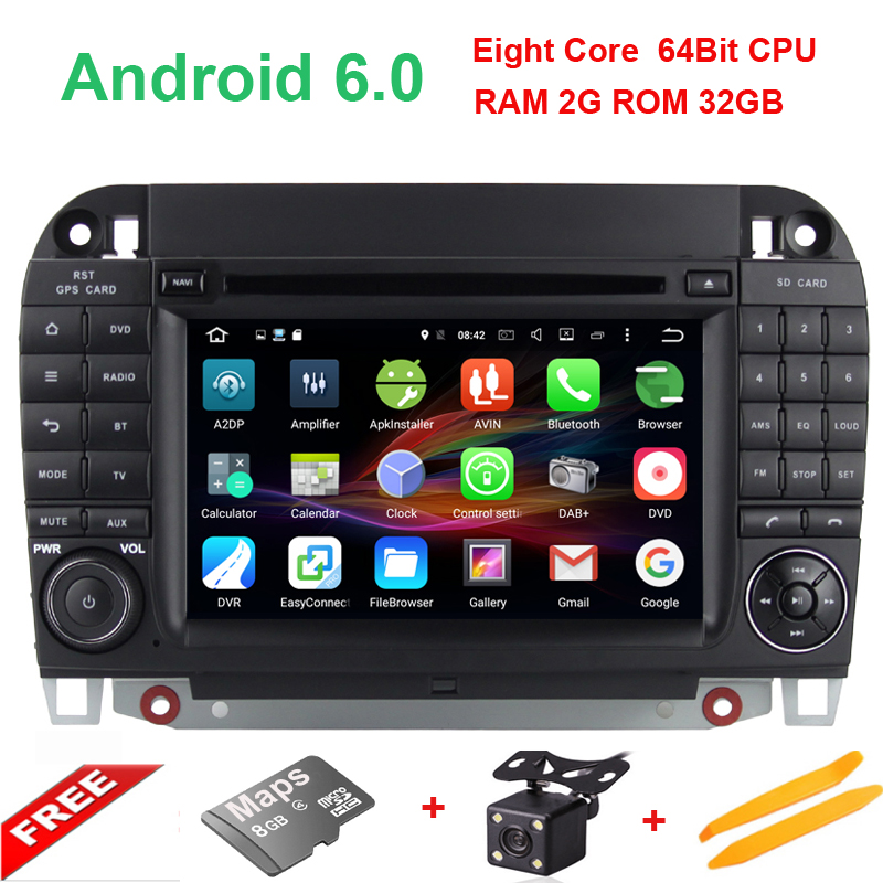 7 Octa Core 2GBRAM 32G ROM 3G WIFI Android 6 Car DVD Multimedia Player Radio For Mercedes-Benz CL-W215 S Class W220 S430 S500