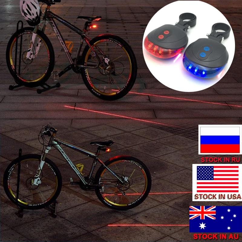 ZK30 الصمام دراجة دراجة ضوء الليل الجبلية 5 الصمام + 2 الليزر الذيل ضوء تحذير السلامة الدراجة الجبلية mtb الخلفي مصباح الدراجة اكسسوارات