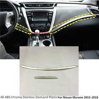 Hot For Nissan Murano 2015 2016 2017 car style cover stick stainless steel Middle Glove box front trim lamp trim panel 2pcs