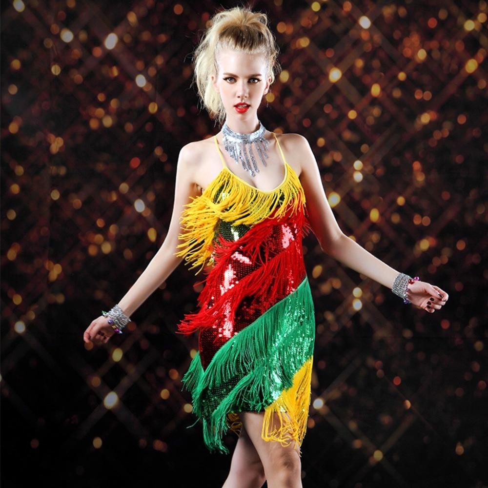 2018 NEW Sexy Women Floral Tassel Dress Latin Rumba Salsa Tango Dance Cocktai Dress Free &Drop Shipping