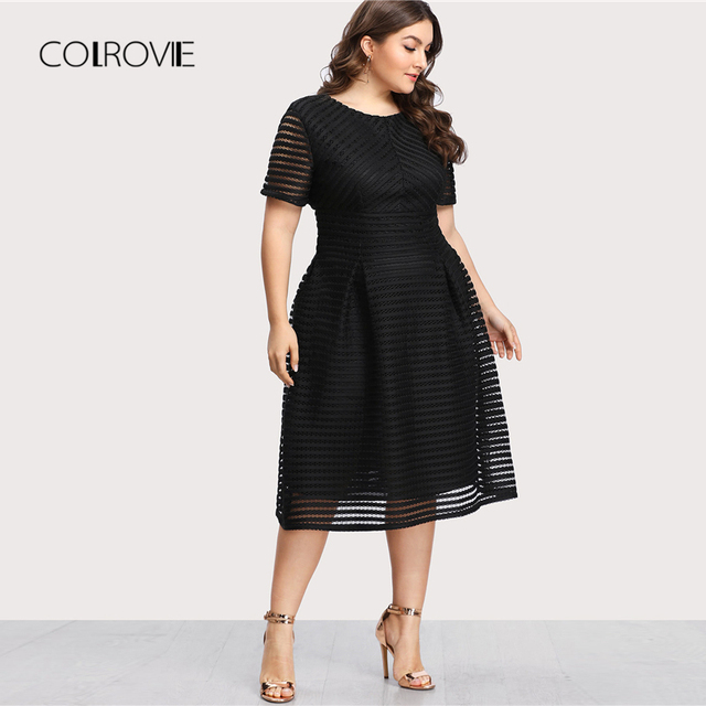 COLROVIE Plus Size Black Pleated High Waist Striped Mesh Sheer Sexy Dress Women Autumn Party Dress Elegant Long Dresses 2