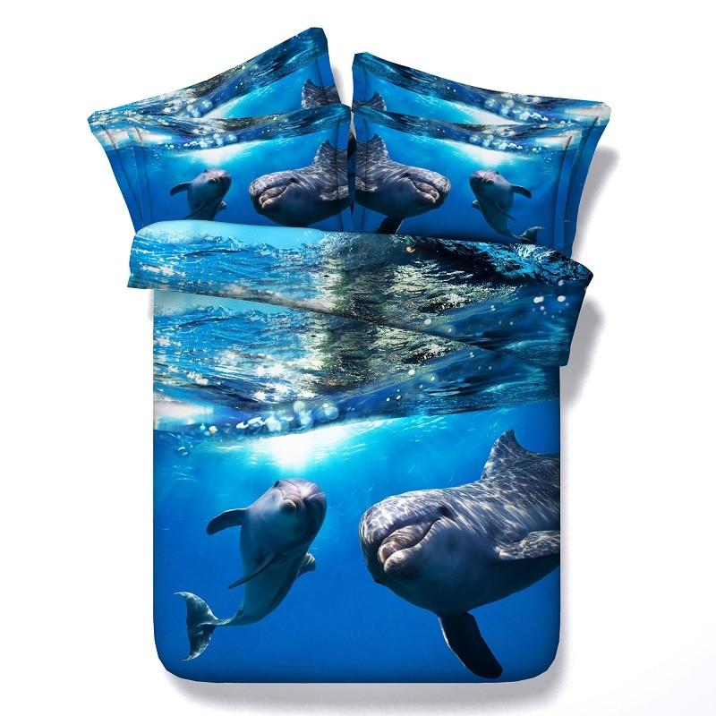 Ocean Bedding Set Tagesdecke 3D Dolphin Bettbezug setzt Bett in einem - Haustextilien - Foto 1