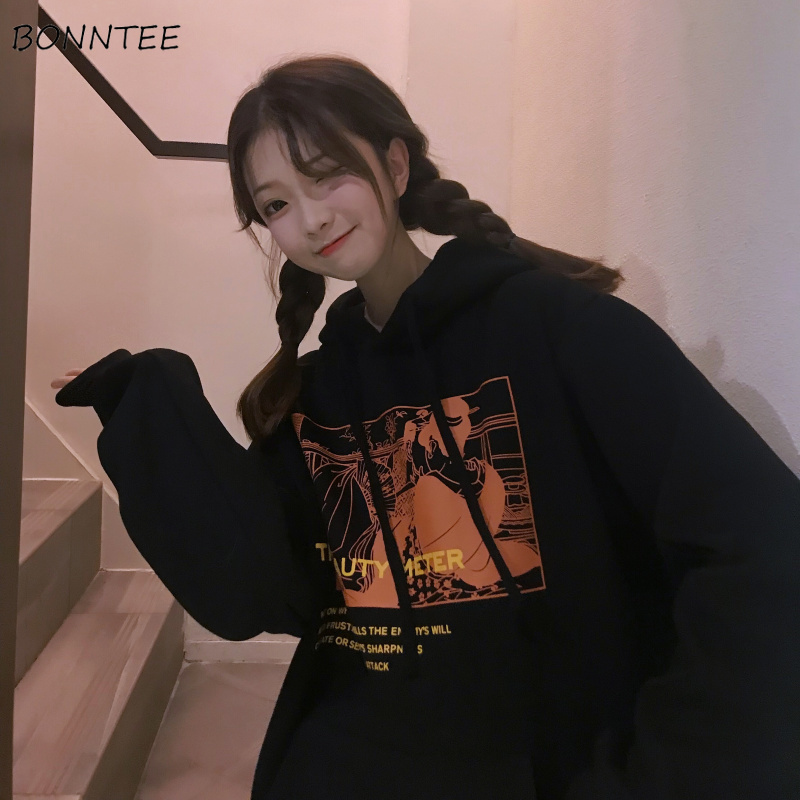 Hoodies Women Winter Plus Velvet Thicker Warm Printed Loose Womens Hoodie All-match Simple Korean Style Students Trendy Daily