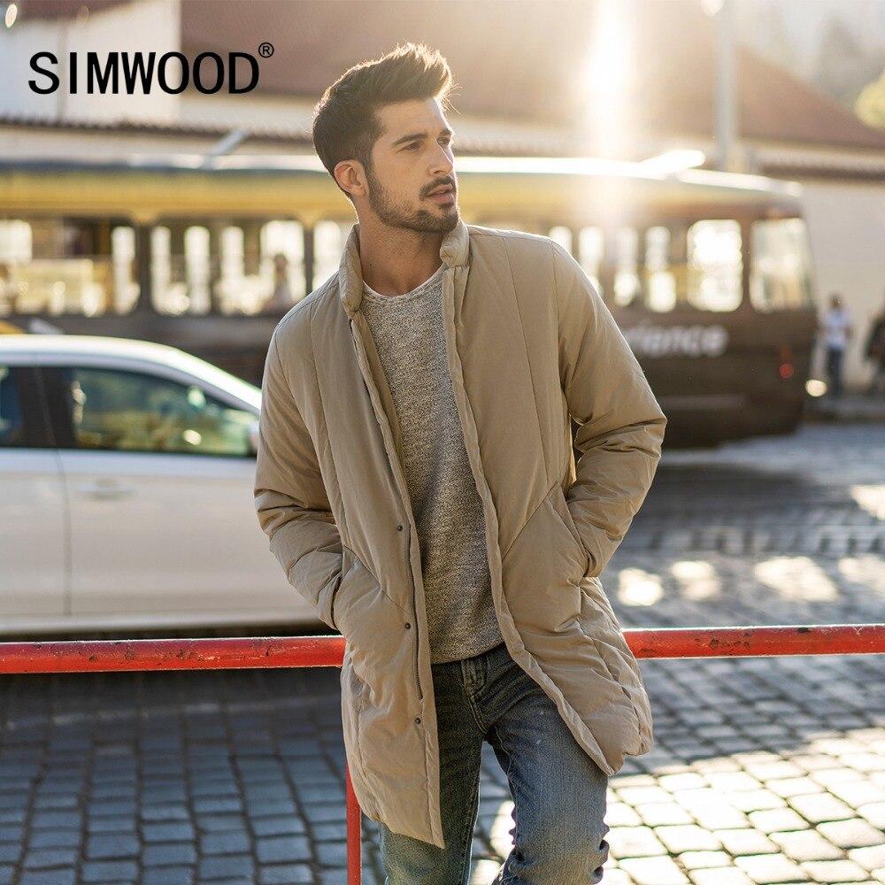 SIMWOOD 2018 Hiver Gris Duvet de Canard Manteaux Hommes Long Vestes Mode Noir Chaud Marque Vêtements Slim Fit Livraison Gratuite 180293