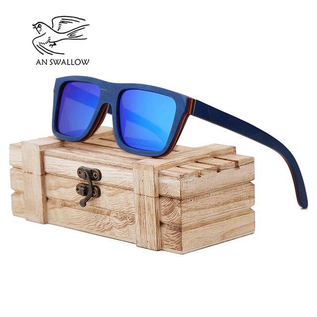 ff2e4cca33 Un trago gafas de sol de madera del patín marco azul con revestimiento  espejo gafas de