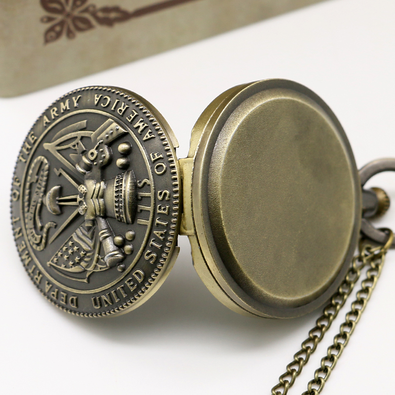 New Arrival Army Pocket Watch Bronze Retro Mænd Watch Women Watches - Lommeur - Foto 5