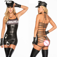 Exotic Halloween Carnival Party Costume Women Sexy Leather Latex After Bandage Cop Uniform Role Play Hat