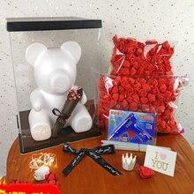 DIY Rose Bear Accessories Bag Foam Mold 200PCS PE Artificial Flower Heads Luck Dog