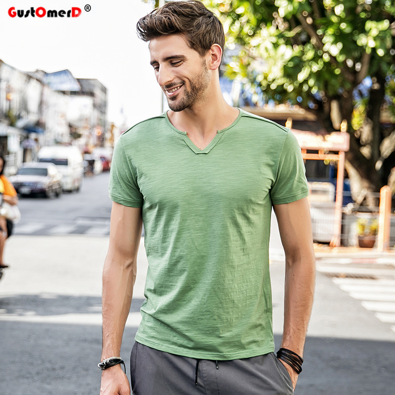GustOmerD 2018 New Summer T shirt Mens Solid Color Slim