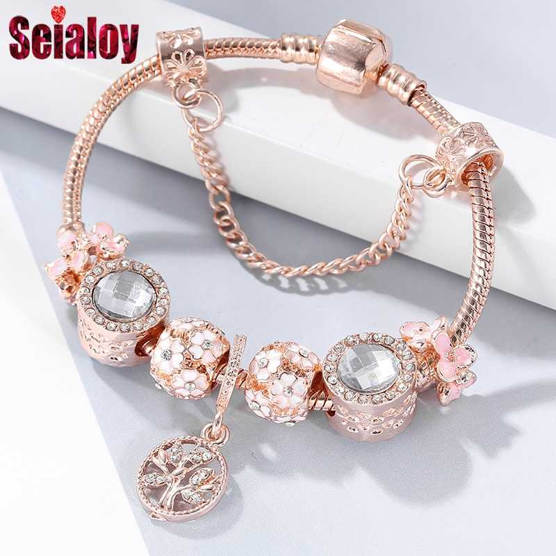 04bcefe709f8c SEIALOY Rose Gold Bracelet For Women Heart Shaped Pink Crown Charm Brands  Bracelets Jewelry Fit Girls Couple Friendship Gift