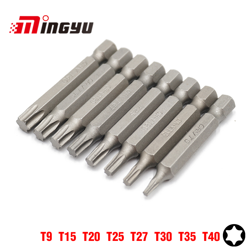 MING YU 8PCS 50MM Tor T9 T15 T20 T25 T27 T30 T35 T40 Household Screwdriver Set Portable Dismountable Screw Assembly