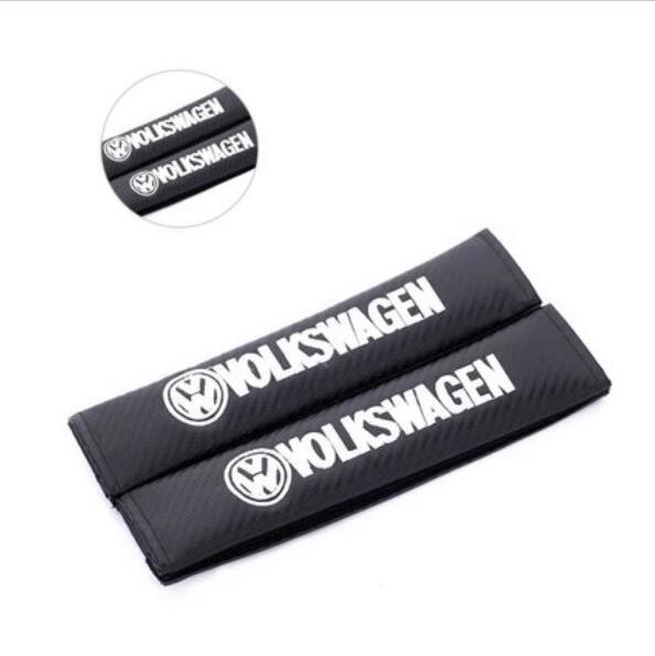 Car Seat Parts Carbon Fiber Seat Belt Shoulder Pads Suitable for (VOLKSWAGEN) *2PCS