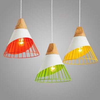 Nordic Hanglampen Hout Aluminium Lampenkap Industriële Verlichting Loft Lamparas Kleurrijke Hanger Lamp E27 Base Verlichtingsarmaturen