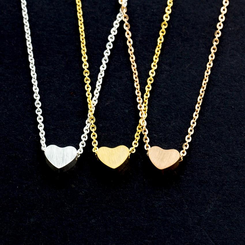 Minuscule amour coeur colliers en acier inoxydable petits coeurs en - Bijoux fantaisie - Photo 6