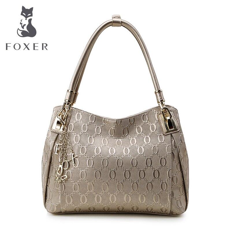 FOXER Brand Design Women s Leather Handbag Bag Lady Chain lines Shoulder Crossbody bags