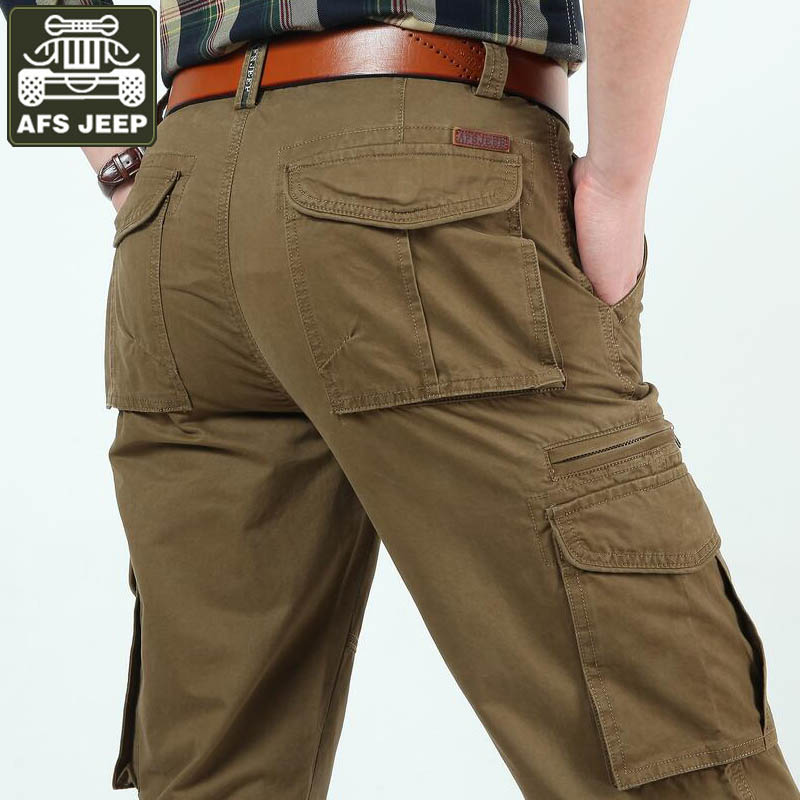 Afsジープブランドカーゴパンツ男性100%綿のズボン陸軍軍事ジョギング用のマルチポケットパンツ用男性カーゴパンツパンタロンオム  グループ上の メンズ服 からの カジュアル パンツ の中 1