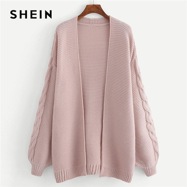 555a100519 SHEIN Plus Size Long Sleeve Acrylic Casual Women Pink Long Knitted Cardigan  Autumn Winter Open Stitch Solid Sweater