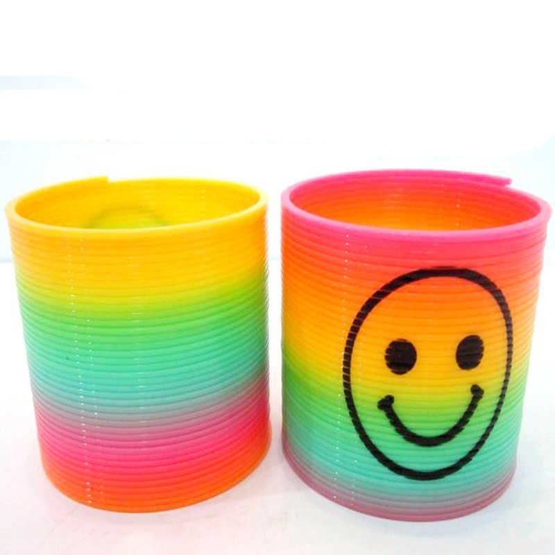 10pcs/set Anti-stress Magic Plastic Smile Rainbow Spring Colorful Circle Coil Elastic Ring Educational Toys for Children Games