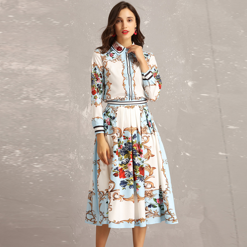 2019 Fashion Runway Sets  Women's Long-sleeved Beaded Sequined Shirt + Casual Floral Print Elegant Midi Skirt Two Piece Set