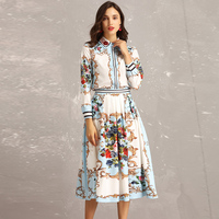 2019 Fashion runway sets women's long sleeved beaded sequined shirt + casual floral print elegant Midi skirt two piece set