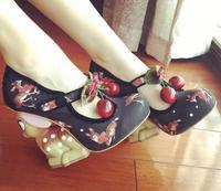 2017 Spring women platform pumps sexy high heel round toe T strap super high strange style heels animals print ladies shoes