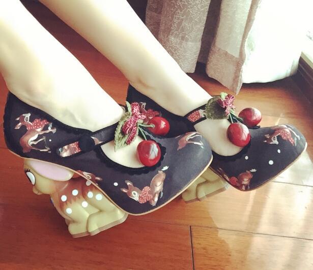 2017 Spring women platform pumps sexy high heel round toe T-strap super high strange style heels animals print ladies shoes цена