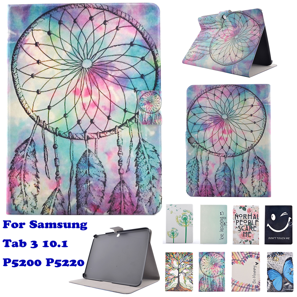 Fashion Cartoon Pattern Case Cover For Samsung Tab 3 10.1 P5200 P5220 Cute Stand Protective Case Tablet PC Funda coque