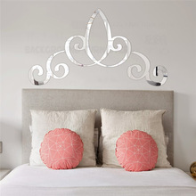 Pegatinas de espejo para pared, pegatinas para pared, pegatinas para dormitorio, papel tapiz para habitación, cabecero, corona, Retro, Vintage, marco de borde de palacio real R144