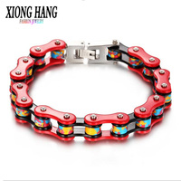 XiongHang Bicycle Chain Titanium Steel Bracelet Color Bracelet Stainless Steel Jewelry Fashion Lady Bracelet Bangle 2018