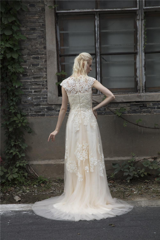 Beach Boho svatební šaty rukávy Vintage Plus velikost Lace - Svatební šaty - Fotografie 5