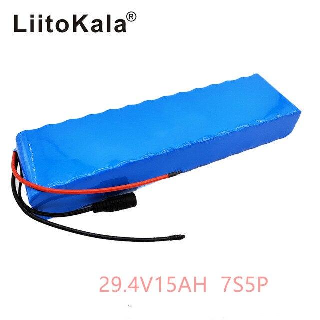 LiitoKala 7S5P 29.4 v 15Ah moteur de vélo électrique ebike scooter 24 v li ion batterie pack 18650 batteries rechargeables au lithium 15A