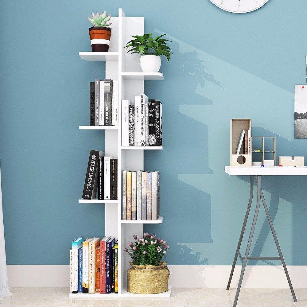 Giantex Open Concept Bookcase Plant Display Shelf Rack Storage Holder Wooden White Living Room Furniture HW57374WH
